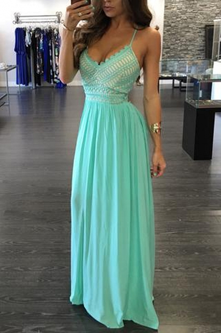 A-Line Empire Spaghetti Strap Evening Dresses Sleeveless Chiffon Floor Length Party Gowns