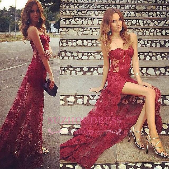 Long Sweetheart Split Stunning Burgundy Full-Lace Prom Dress