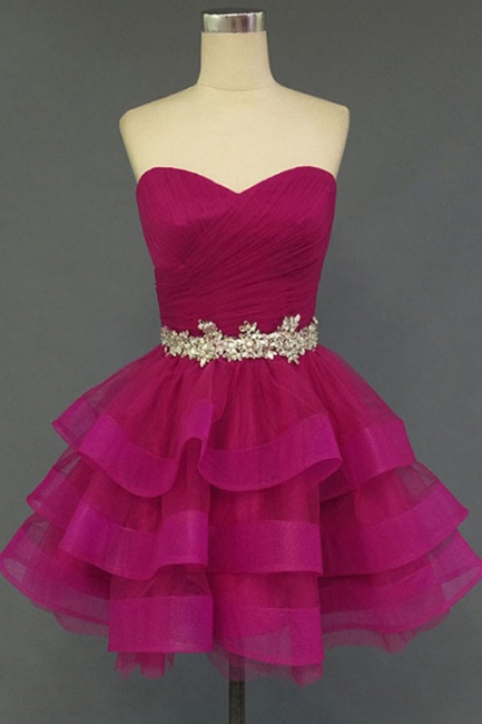 Sweetheart Crystal Fuchsia Mini  Cocktail Dresses Tiered Lace-up Short Homecoming Gowns