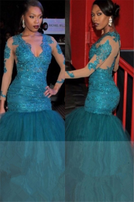 V-neck See Through Lace Blue Prom Dresses    Mermaid Puffy Tulle  Graduation Dresses BA6083