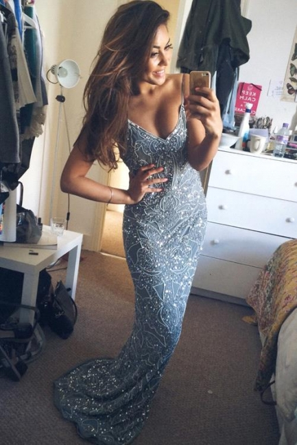 Mermaid Spaghetti Strap Long Prom Dress Sequins Backless  Evening Gowns