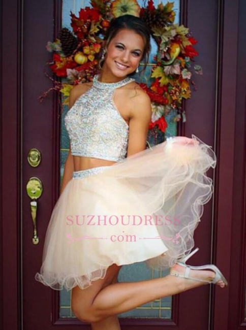 Mini Two-Piece Champagne Halter Crystals Open-Back Discount Organza Short Homecoming Dresses