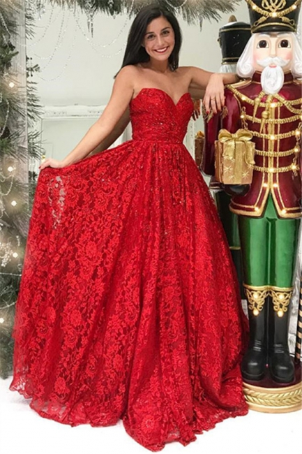 Red Lace Sweetheart Evening Dresses |  A-line Simple Ball Dresses