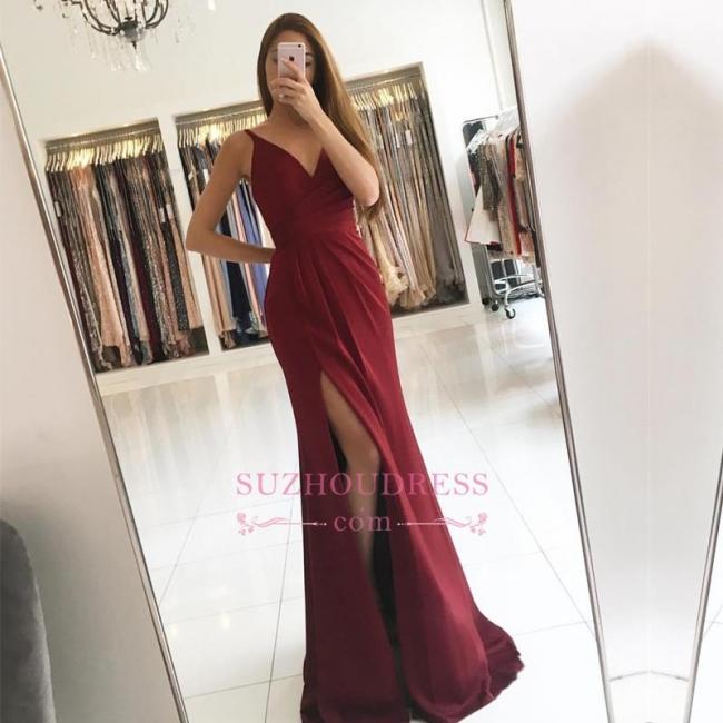 Sleeveless Straps V-neck Formal Dress   Front Split Modest Prom Dress SP0344