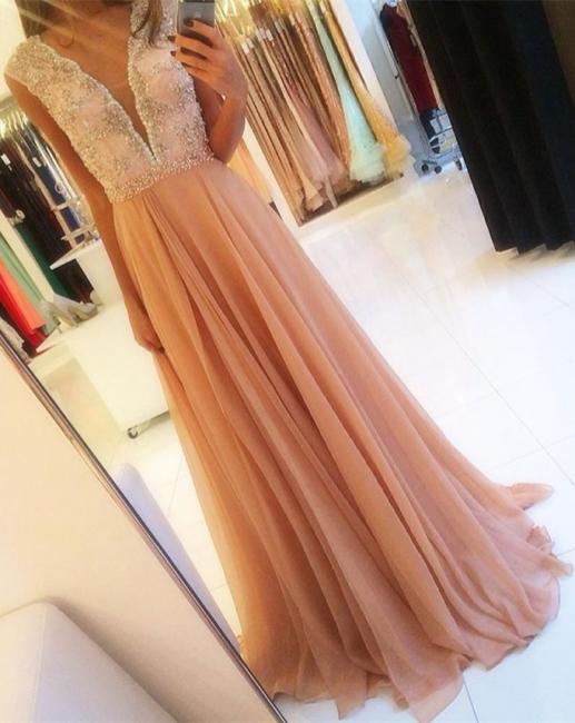 Sweet Deep V-neck Chiffon Prom Dresses  Beading Sequins Evening Gown BA4142
