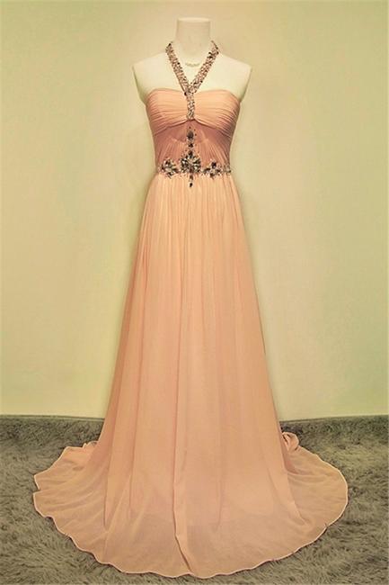 A-line Halter Chiffon Crystal Prom Dress Elegant Sweep Train Zipper Fashional Evening Dresses
