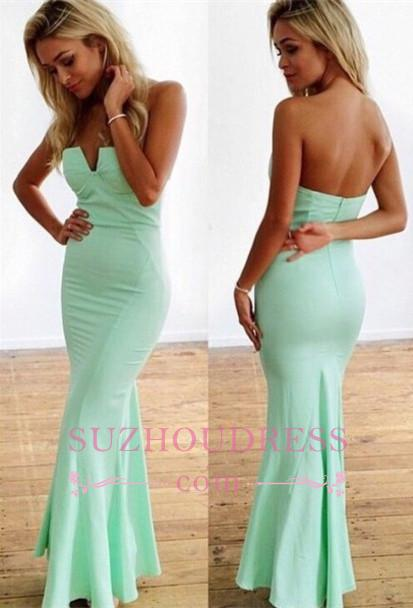Sexy Zipper Floor-Length Mint Sleeveless Sweetheart Mermaid Prom Dresses