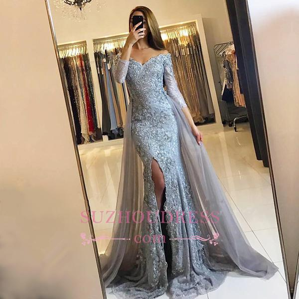 Sweetheart Lace Appliques Evening Gowns  Newest Front Split Long Sleeve Mermaid Prom Dress -BA6240