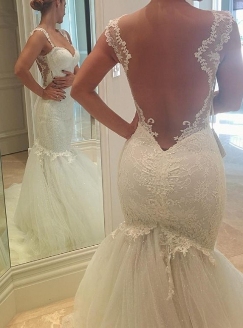 Sexy Mermaid Tulle Open Back  Wedding Dresses Spagheeti Strapless Lace Bridal Gowns