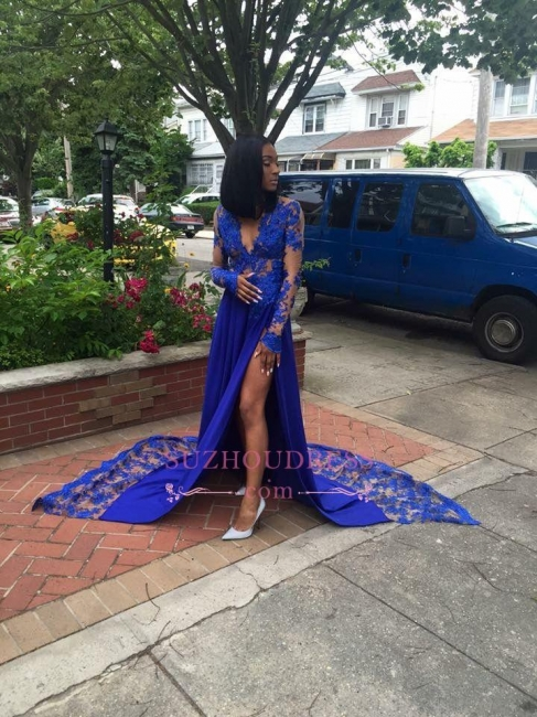 Side Slit Deep V-Neck Evening Dress  Long Sleeves Lace Sexy  Royal Blue Prom Dresses LY181