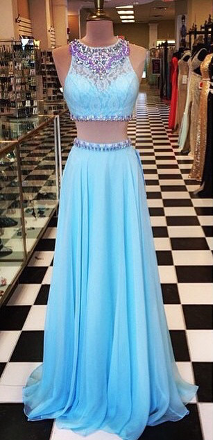 Crystal Light Blue Halter Two Pieces Prom Dress New Arrival Open Back Chiffon Long Evening Gowns