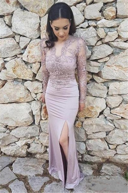 Long Sleeve Lace Prom Dresses |  Prom Dress with Open Back