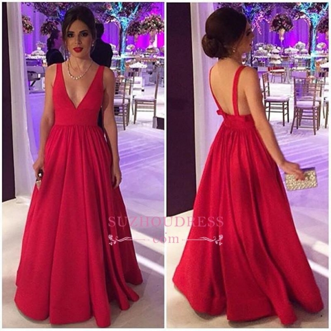 Open-Back V-neck  Sleeveless Elegant New Long Red Evening Dresses BA4857