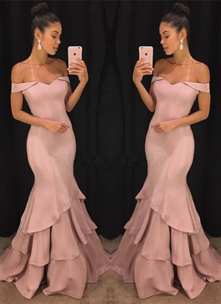 Pink Off-the-Shoulder Mermaid Prom Dresses  Tiered Simple Evening Gowns SK0118-GA0