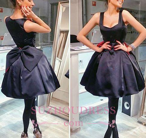 Vintage Short Square Neck Bowknot Cocktail Dresses Little Black Homecoming Dresses