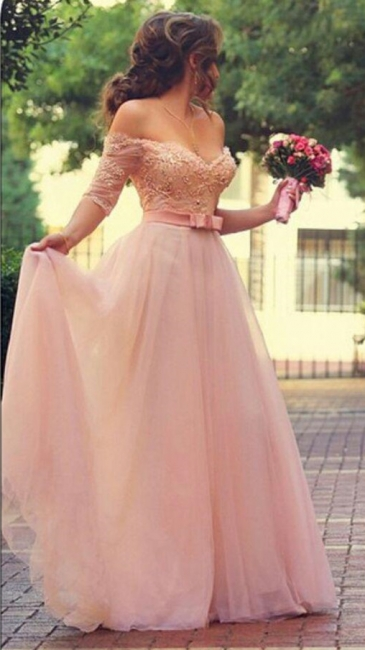 A-Line Cute Pink Half Sleeve Evening Dress Off Shoulder Lace Sweep Train Bridal Gown