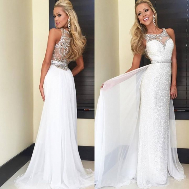Latest Crystal Sheath  Prom Dress with Beadings Sequined Floor Length Evening Gown