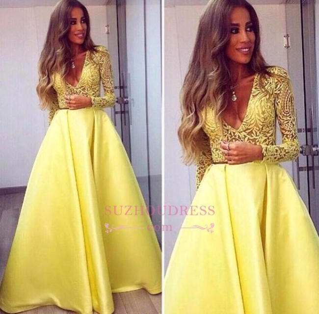 Yellow Lace V-neck Long Satin Evening Gown Sleeves Gorgeous Prom Dresses
