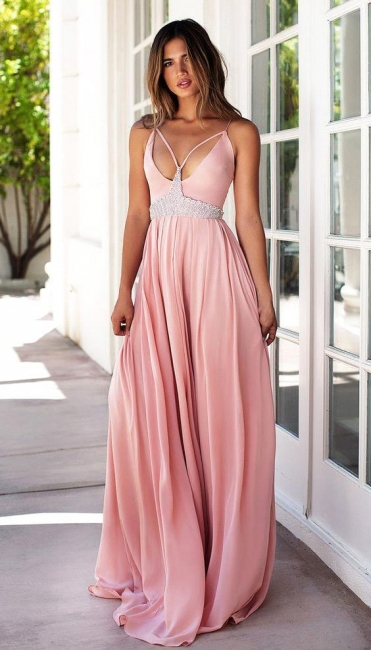 Pink Spaghetti Strap Empire Summer Dresses Crystal Chiffon Long Prom Gowns