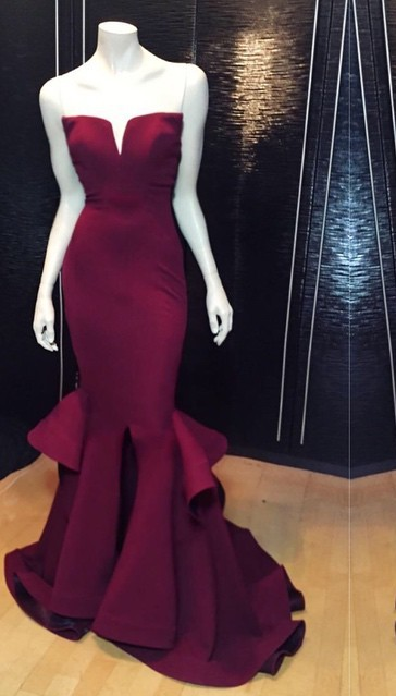 Popular Burgundy Mermaid Long Evening Dress Sexy Simple  Notched Slit Prom Gown CJ0397