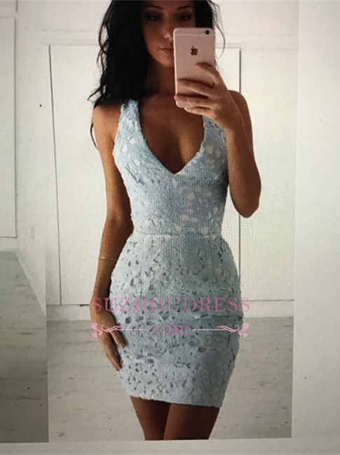 Mini Sleeveless Lace Straps Modest Bodycon Homecoming Dress