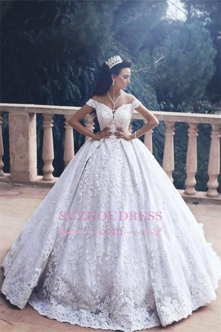 Lace Appliques Princess Bride Dress Luxurious  Off-The-Shoulder Ball-Gown Wedding Dress