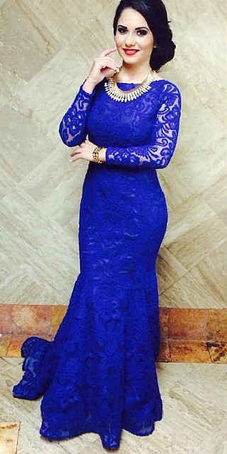 Blackless Royal Blue Lace  Long Prom Dresses with Fishtail Long Sleeves Sexy Evening Dresses BO9674