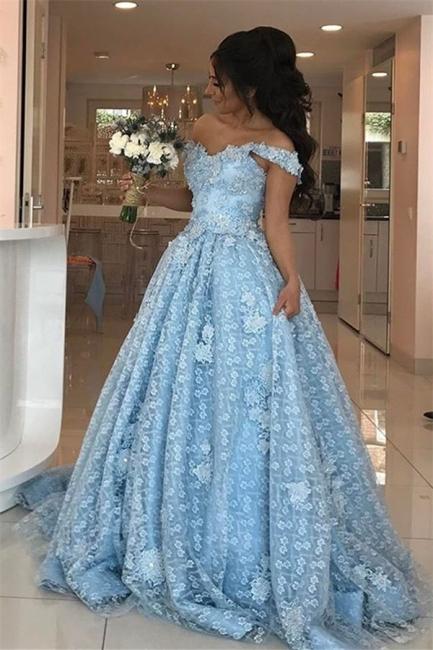 Elgant Off-the-Shoulder Blue Evening Dresses  Lace Appliques Prom Dresses