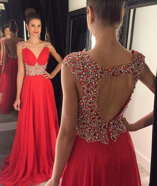 Elegant V-Neck Empire Beading Prom Dress Crystal Open Back Chiffon Evening Gown GA014