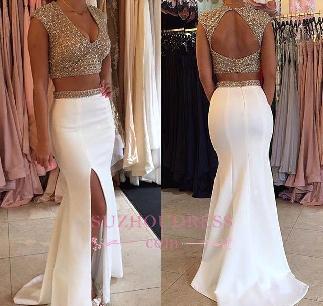 Beaded Sparkly Crystals Two Piece Prom Dress V-neck Long Mermaid Evening Dresses