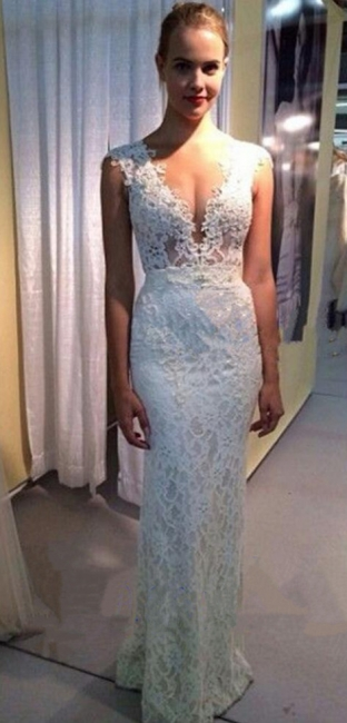 Sexy Deep V-Neck Sheath Wedding Dress Lace Zipper Floor Length Bridal Gown JT047