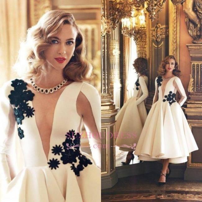 Deep V-Neck Ruffles Long Sleeves Prom Dresses  Sheer Long Puffy Vintage Pockets Evening Dresses BA3505