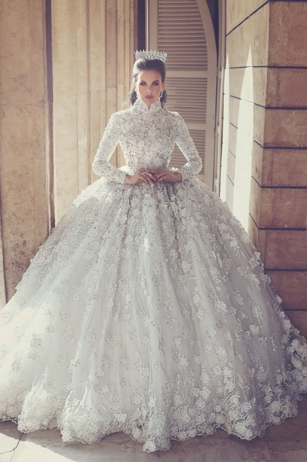 Attractive Ball Dresses Wedding Dresses with Appliques Lace Vintage Bridal Gowns with Sleeves On Sale
