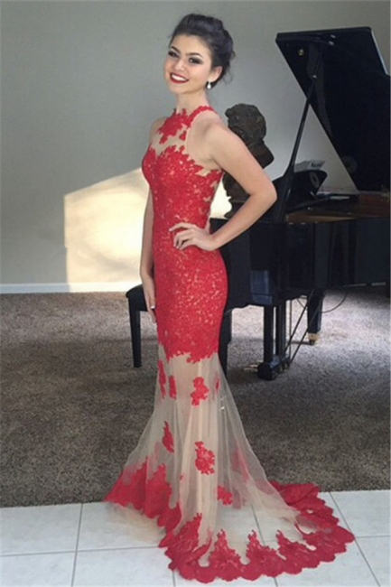 Elegant Red Lace Tulle Long Prom Gowns Popular Apllique Sweep Train Evening Dress