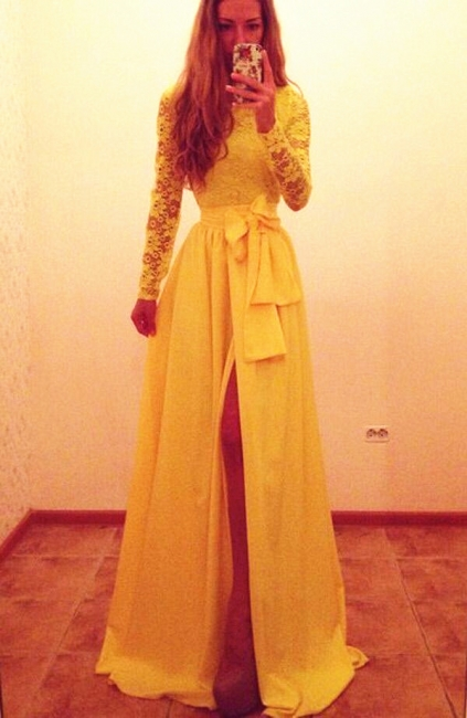 Yellow Lace Lovely  Long Prom Dresses with Bowknot Side Slit Long Sleeve Cute Evening Dresses CJ0121