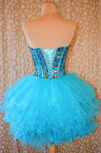 Crytsal Blue Short Organza Homecoming Dress Sweetheart Lace-Up Popular Custom Made Mini Dresses