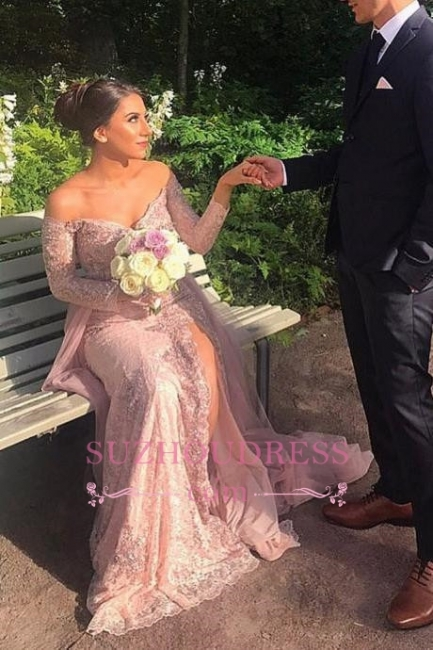 Elegant Appliques Mermaid Lace Prom Dresses  | Front Split Off-the-shoulder Long-Sleeve Evening Dress