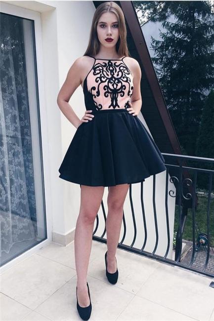 Black Appliques Spaghetti Straps Short Homecoming Dresses   Hoco Dress