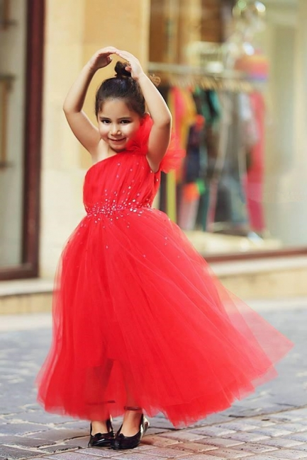 Cute Red One Shoulder Tulle Long Flower Girl Dress  Crystal Floor Length Dresses for Girls