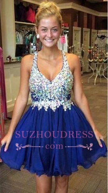 Sparkly Short Royal-Blue Popular Chiffon Sleeveless Rhinestone Homecoming Dresses