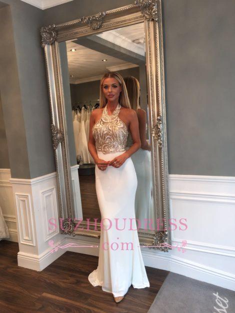 Sleeveless Halter Gold Sequined Prom Dresses Sweep Train Mermaid Long Evening Dress