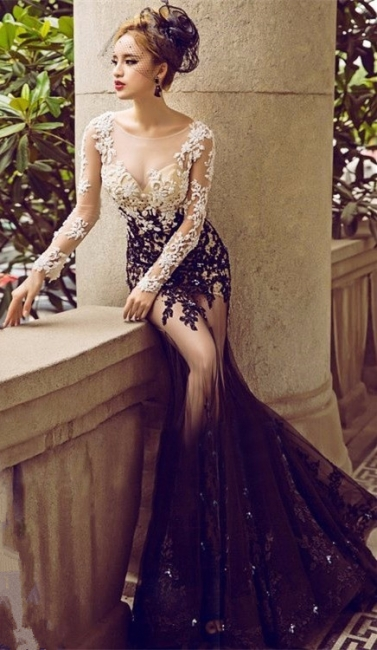 Bateau Long Sleeve Lace Appliques Sexy Prom Dresses  Sheer Tulle Mermaid Evening Gown FB0176