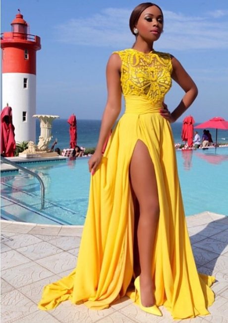 Sexy Side Slit Long High Neckprom Gowns  Sleeveless Chiffon Yellow Evening Dresses