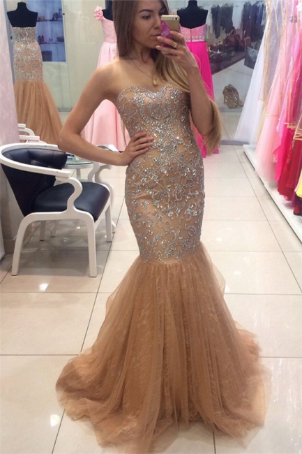 Champagne Prom Dresses Mermaid Silver Beads Crystals Evening Gowns