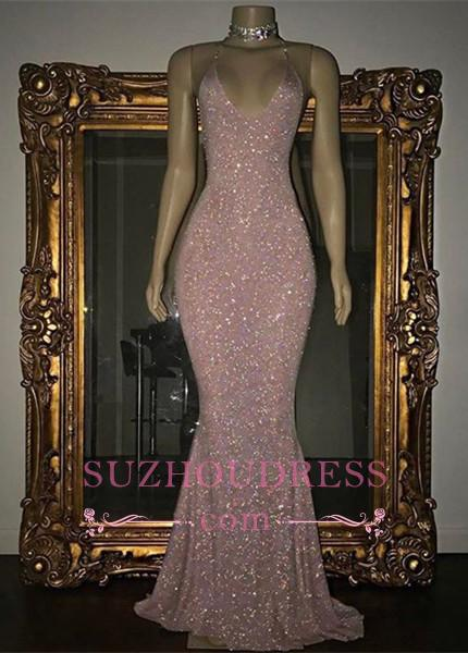 Stunning Rose Pink Sequined Evening Gown Long Spaghetti Strap Mermaid Sleeveless  Prom Dress MQ0050