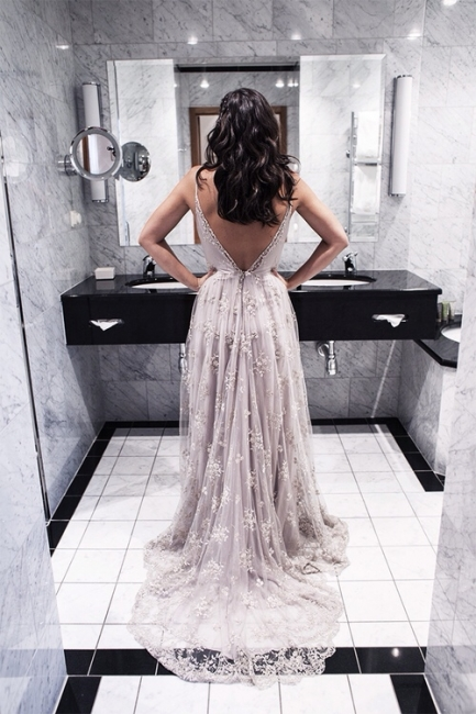 Spaghetti Straps Prom Dresses  V-neck Open Back  Evening Gowns CE059