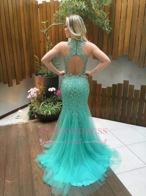 Gorgeous Mermaid Sleeveless Tulle Beads Zipper Prom Dress