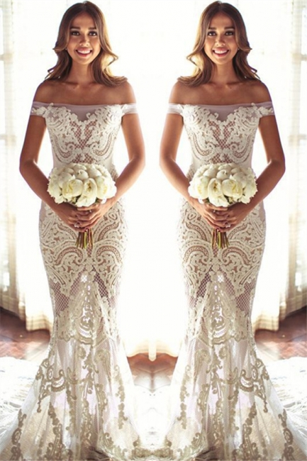 Off The Shouler Sheath Lace Wedding Dresses  | See Through Cheap Bridal Gowns with Court Train