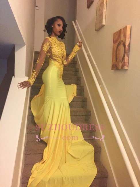 Beautiful High Neck Evening Dress Yellow Long-Sleeve Lace Appliques Mermaid Prom Dress