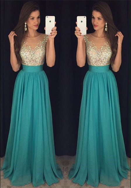 New Arrival Simple Crystal  Prom Dress Scoop Floor Length Sequins Party Dresses